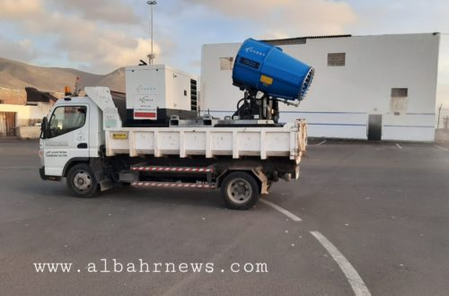 شاحنة للتعقيم بميناء سيدي افني