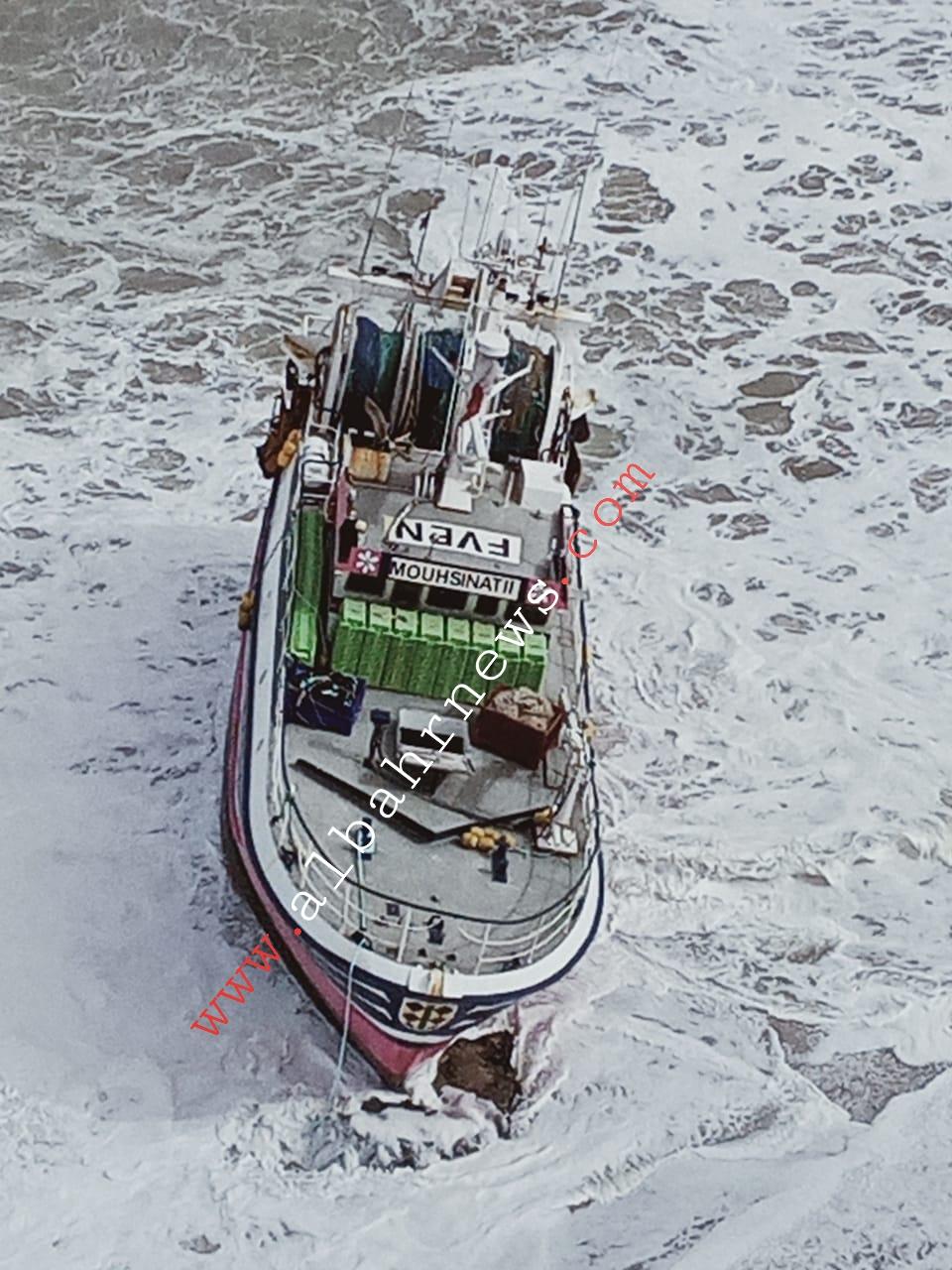 مركب الصيد MOUHSINAT-2 في حالة جنوح بشاطى العركوب